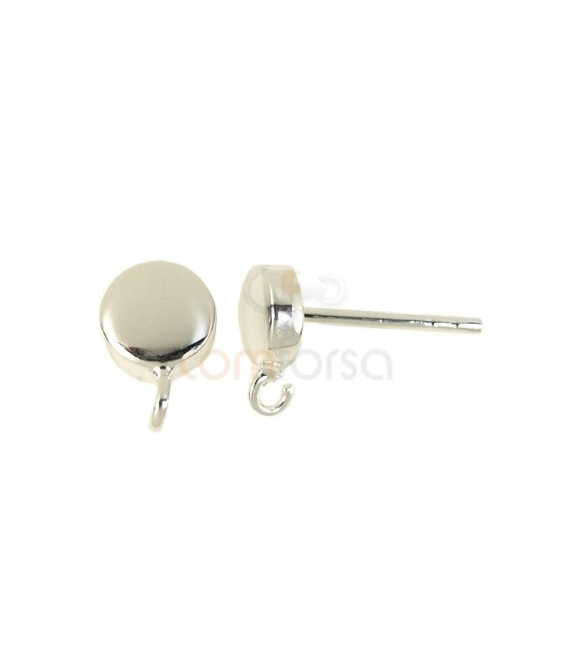 Sterling silver 925 half-ball earrings with open rings 4.5 mm