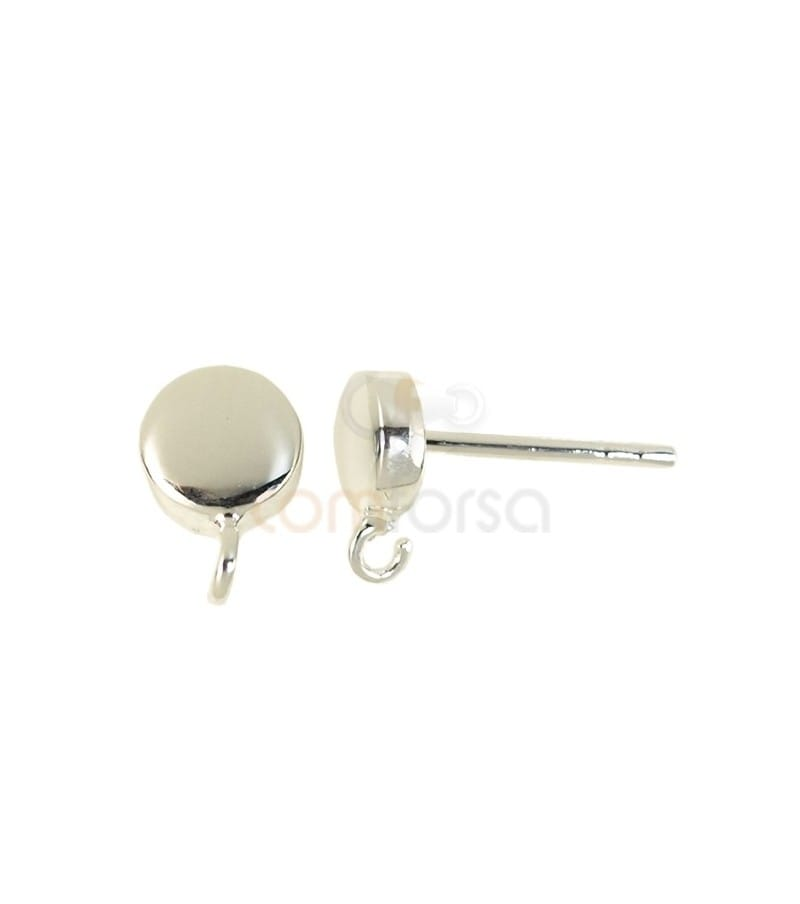 Sterling silver 925 half-ball earrings with open rings 5.5 mm
