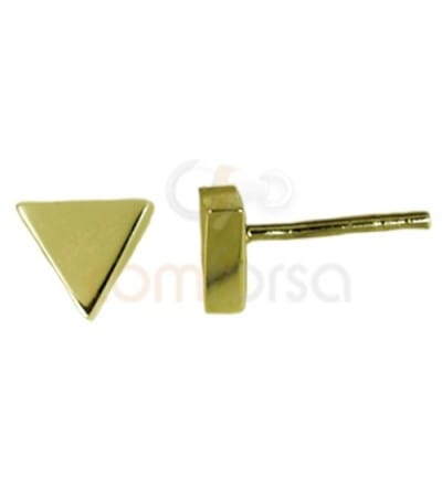Gold plated sterling silver 925 triangle earrings 7.5x6.5 mm