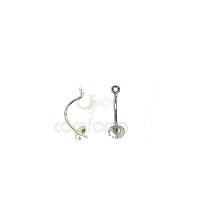 Sterling silver 925 cup with peg pendant earring 13mm