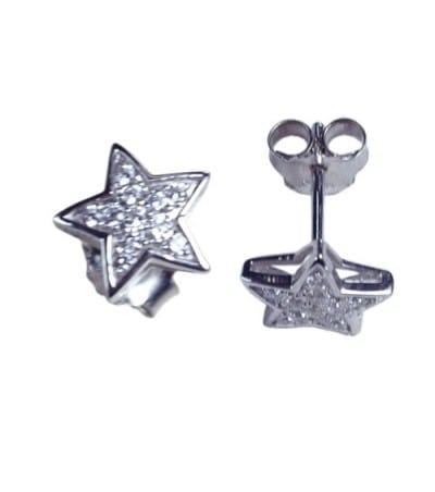 Sterling silver 925 Star earring with zircons 9 mm