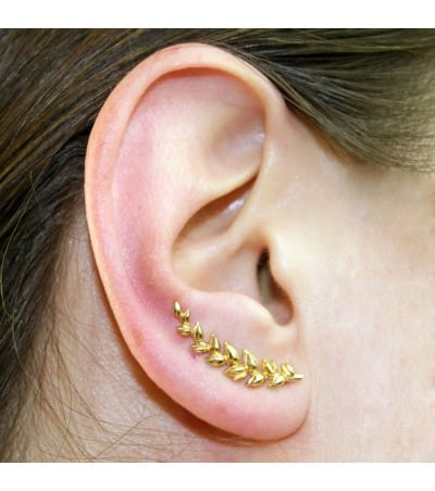 Sterling silver 925 gold plated wheat grain ear crawler 6x24 mm