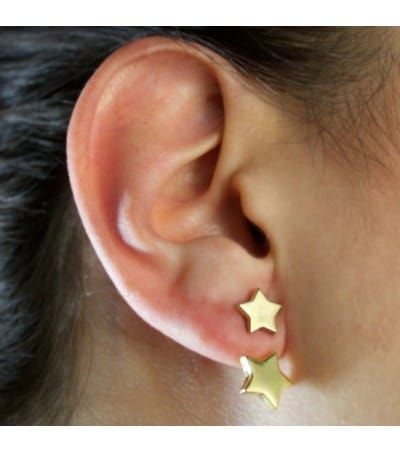 Gold plated sterling silver 925 star earrings 8.5 mm