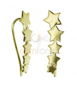 Sterling Silver 925 Gold Plated Stars Ear Crawler 8x25mm