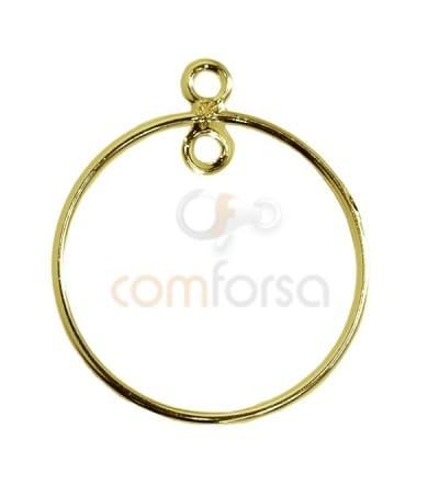 Anilla entrepieza circular 25 mm plata chapada oro