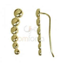 Sterling Silver 925 Gold Plated Balls Ear Crawler 6x26mm