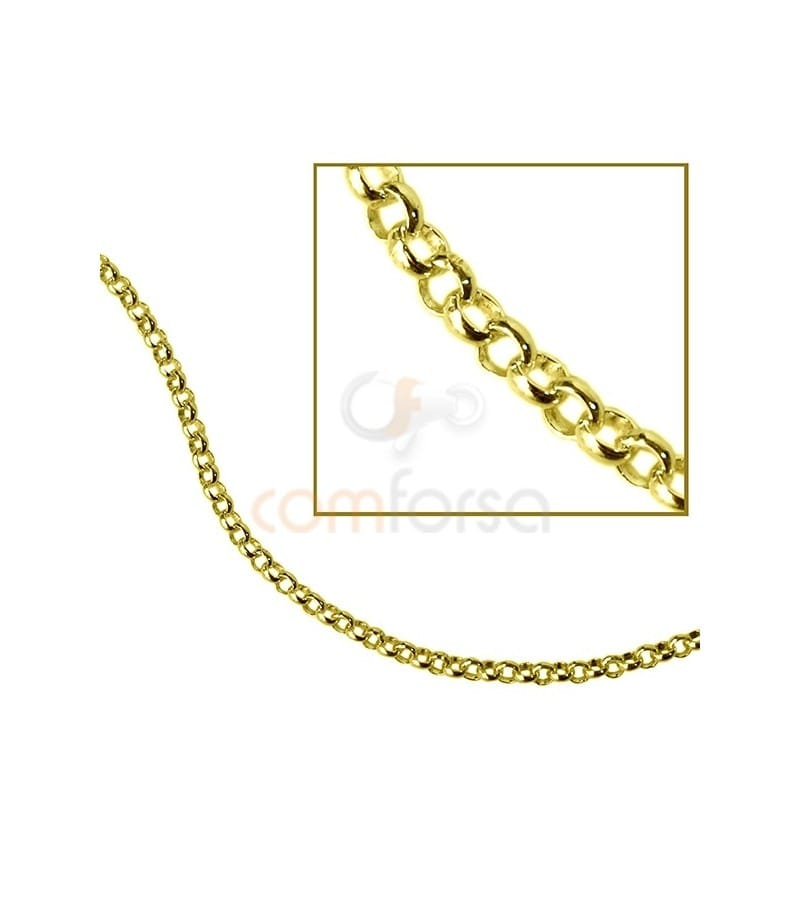 Gold plated sterling silver 925 round belcher chain 1.5 mm