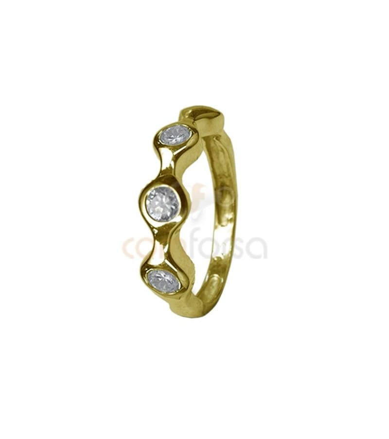 Gold plated sterling silver wavy ring with three zircons