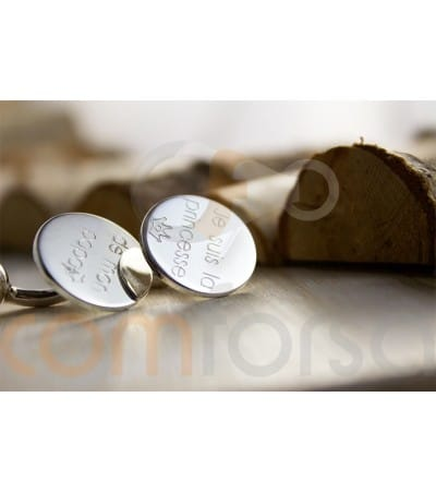 Sterling Silver 925 Engravable round cufflinks 17 mm