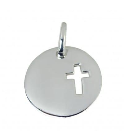 Grabación + Colgante cruz 20 mm plata 925
