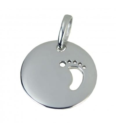 Engraving + Sterling silver 925 cut out feet pendant 20 mm
