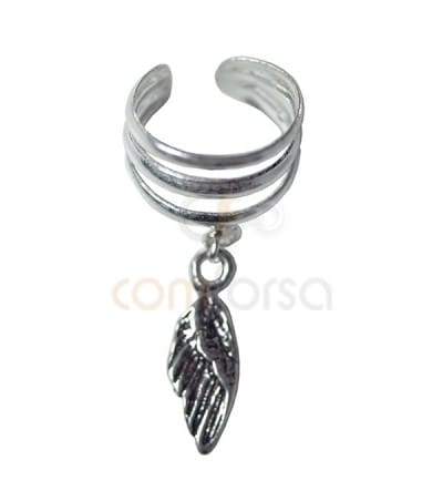 Earcuff with feather pendant sterling silver 925