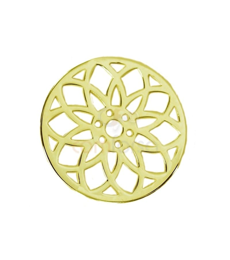 Gold Plated Sterling Silver Seed of Life Mandala 15 mm