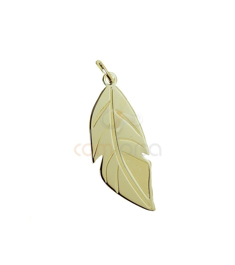 Sterling silver 925 gold-plated feather pendant 10 x 26 mm