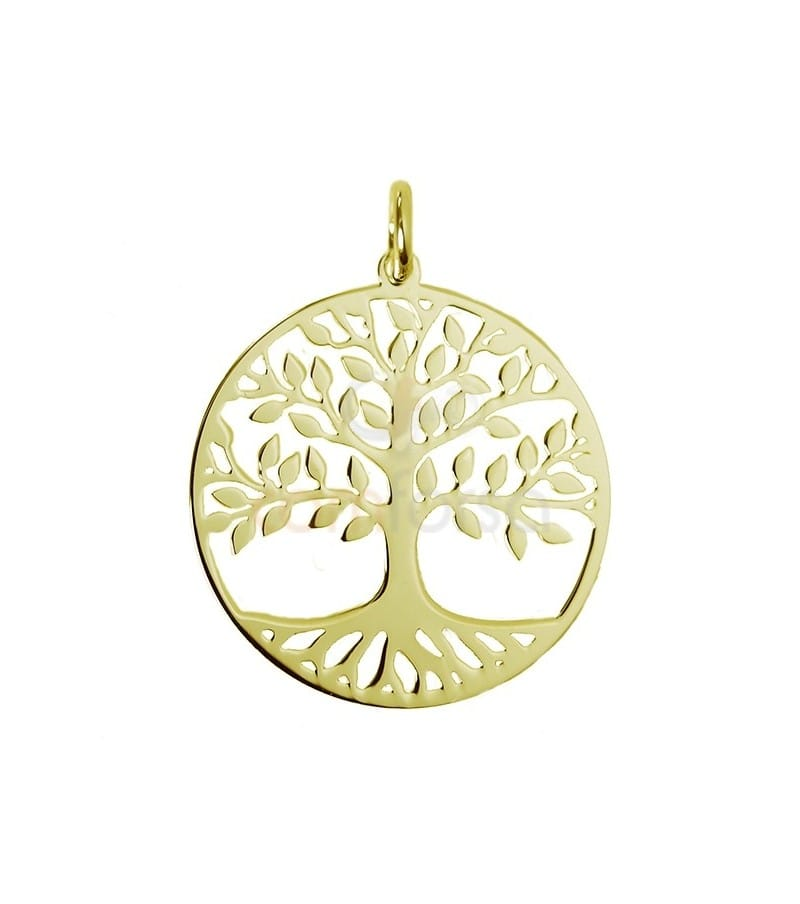 Gold plated sterling silver 925 tree of life pendant 20 mm