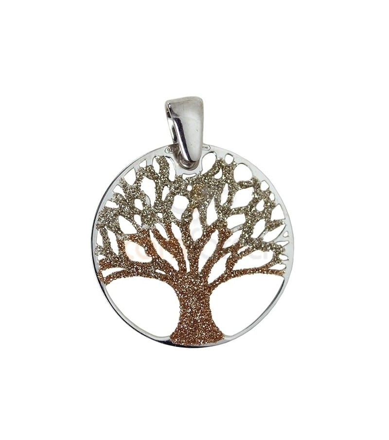 Sterling silver 925 life tree pendant 25 mm in brown