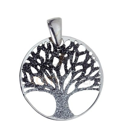 Sterling silver 925 life tree pendant 25 mm in grey