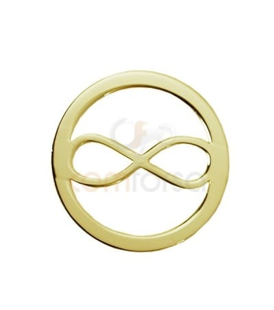 Gold plated sterling silver 925 infinity connector 13 mm