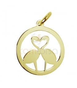 Sterling silver 925 gold-plated flamingo pendant 13 mm