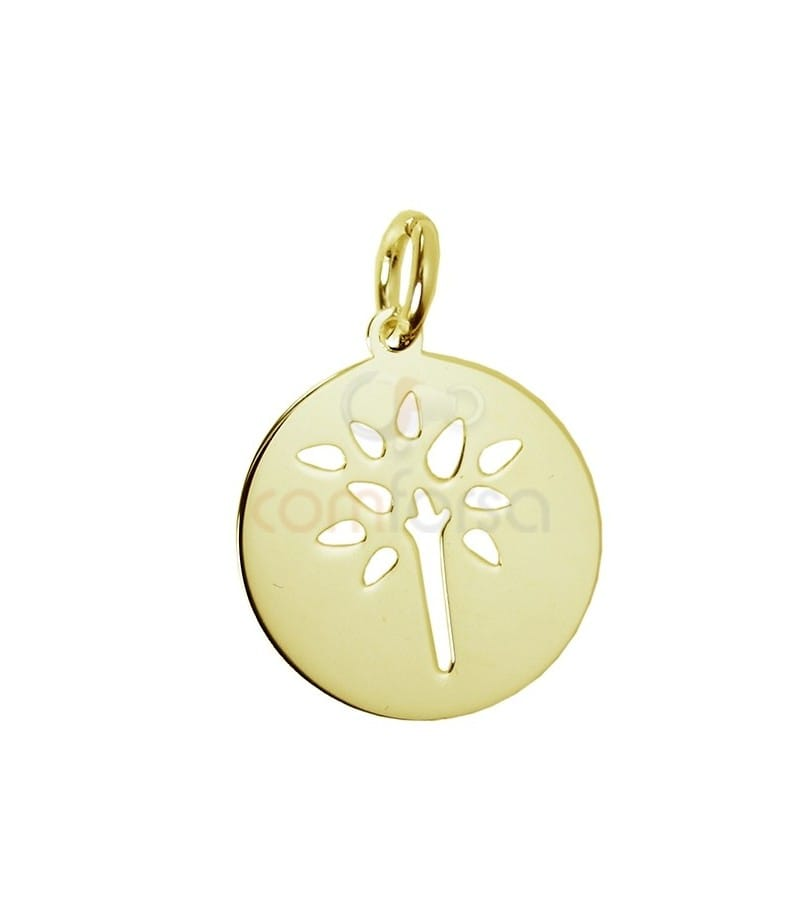 Gold plated sterling silver tree pendant 13 mm