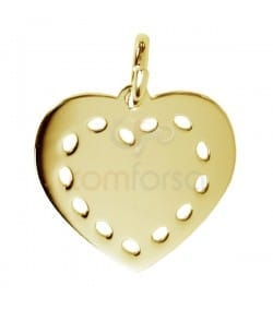 Gold plated sterling silver heart pendant 13 x 12 mm