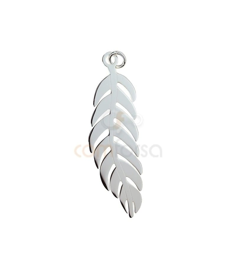 Sterling Silver 925 Feather pendant  7 x 21 mm