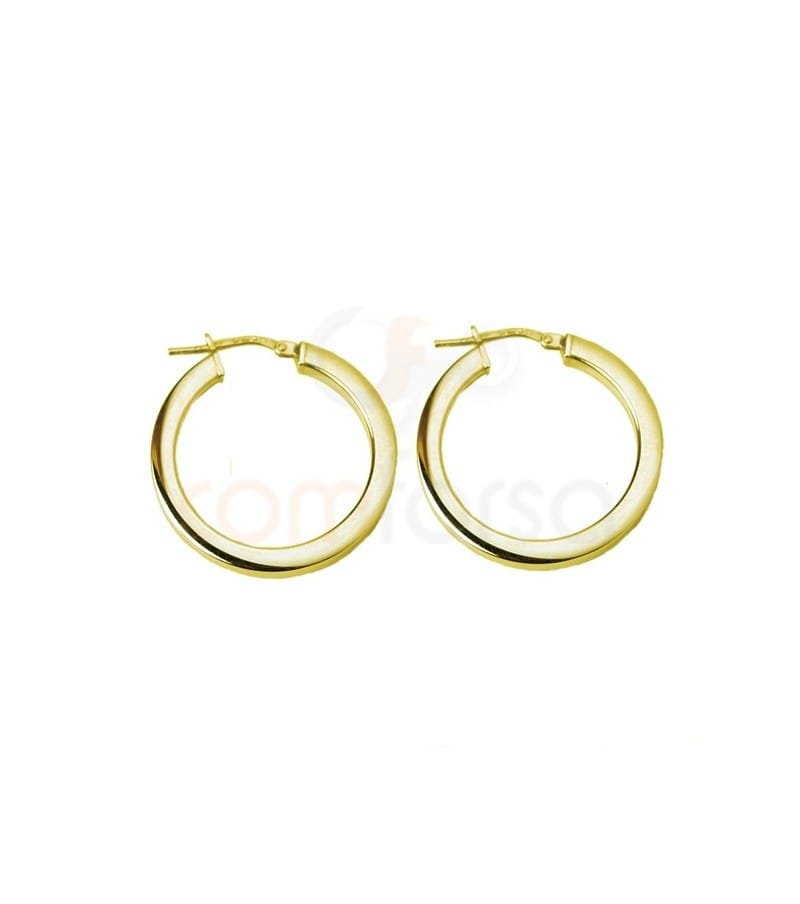 Sterling silver 925 Gold plated hoop earring 26 mm