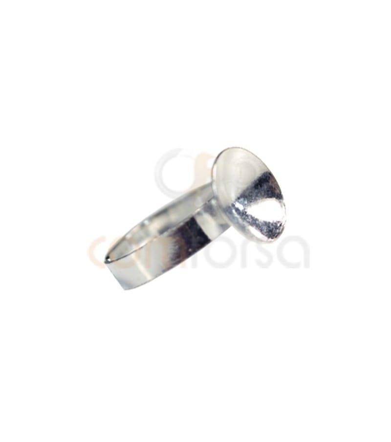 Anillo con casquilla para rivoli 12 mm plata 925
