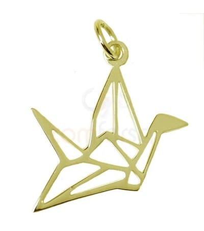 Gold plated sterling silver 925 Crane pendant 19 x 17 mm