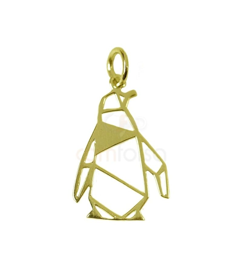Penguin pendant 13 x 19mm Gold plated silver
