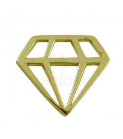 Diamond link 11 x 10  mm Gold plated silver