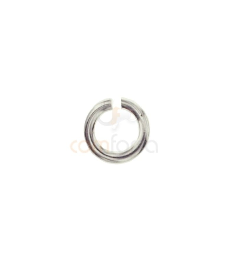 Ring 4 mm ext (0.8) Rhodium plated silver