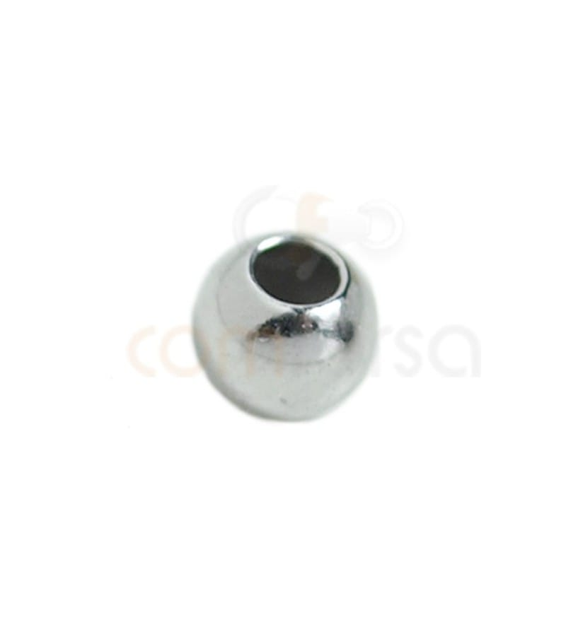 Ball 6 mm (2.4 mm ) Rhodium plated silver