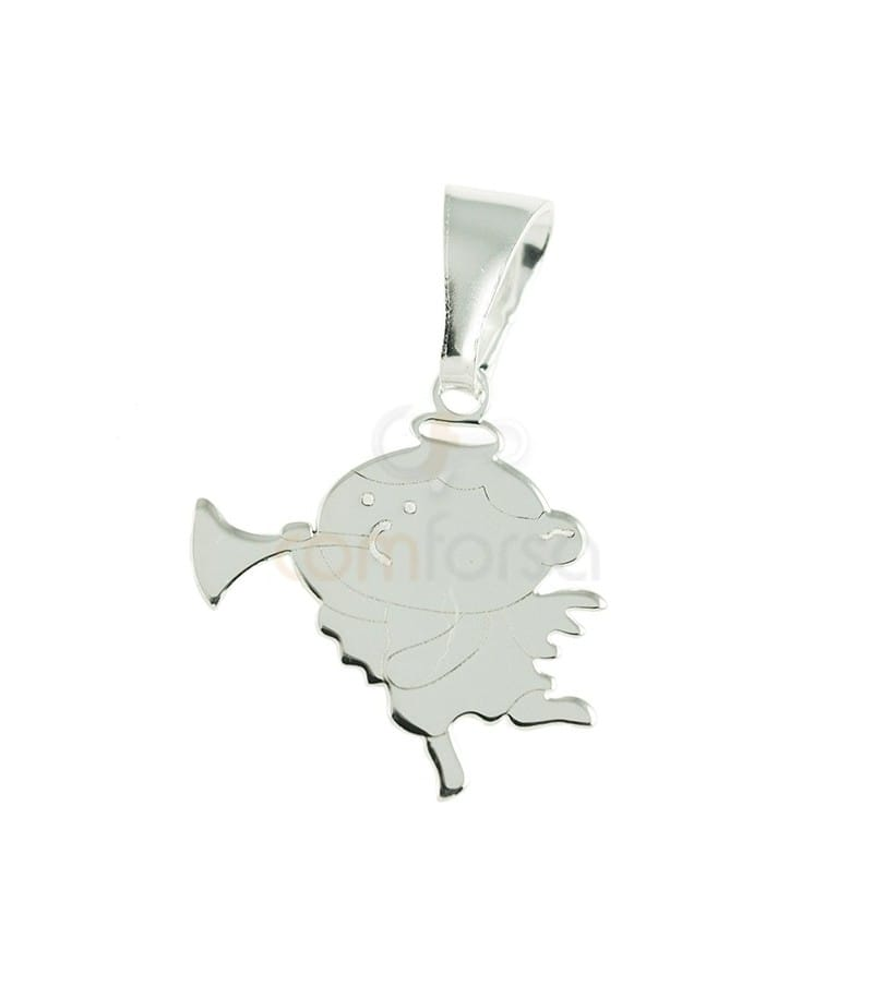 Sterling silver Angel with trumpet pendant 16 x 22 mm