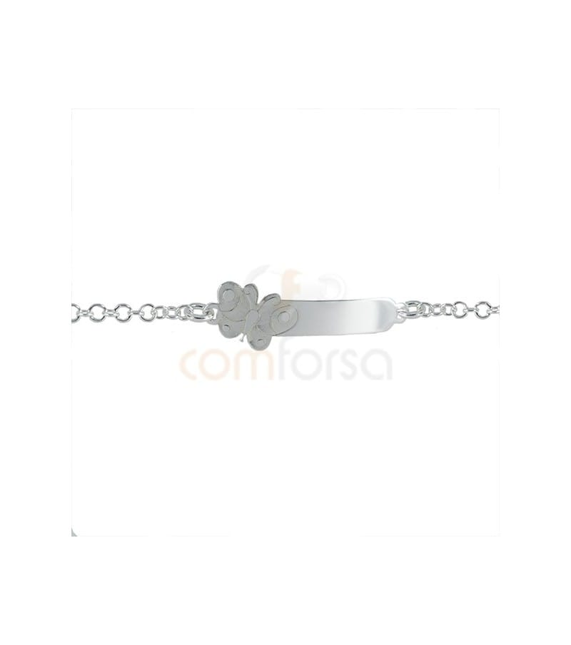 Sterling silver butterfly bar bracelet 13 cm with extender 3 cm