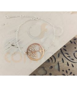 Rose gold plated Sterling silver Tree of life link 24 mm