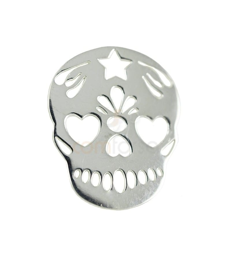 Sterling silver 925  Mexican Skull 15 x 18 mm