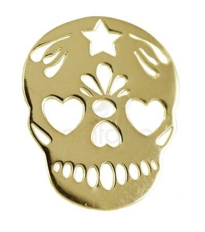 Colgante calavera mexicana 15 x 18 mm plata chapada en oro