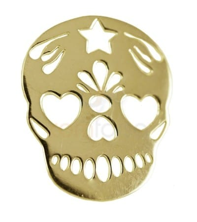 Gold plated Sterling silver 925  Mexican Skull pendant 15 x 18 mm