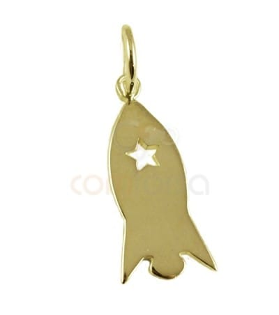 Sterling silver 925 gold-plated rocket pendant 7 x16 mm
