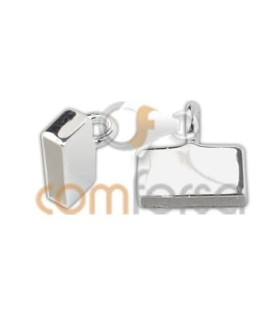 Sterling silver 925 flat end cap with jumpring 9 x 2.5 mm