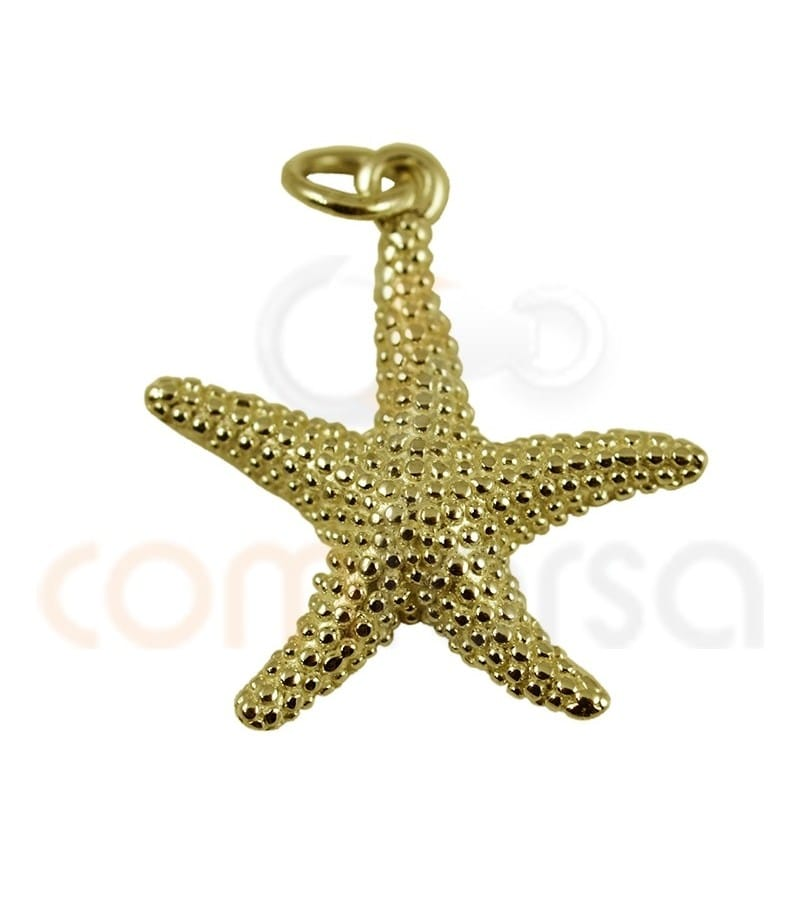 Sterling silver 925 gold-plated starfish pendant 12 mm