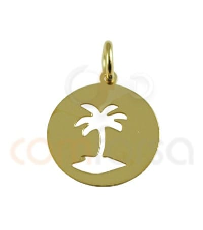Gold plated Sterling silver 925 Palm tree pendant 13 mm