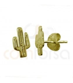 Gold plated sterling silver cactus earrings 5 x 9