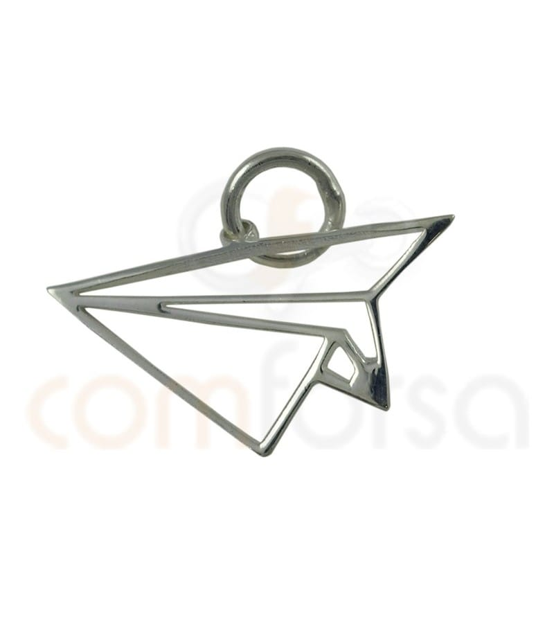Sterling silver 925 Paper airplane pendant 18 x 10 mm