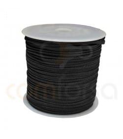 Flat braided cord  4mm Black