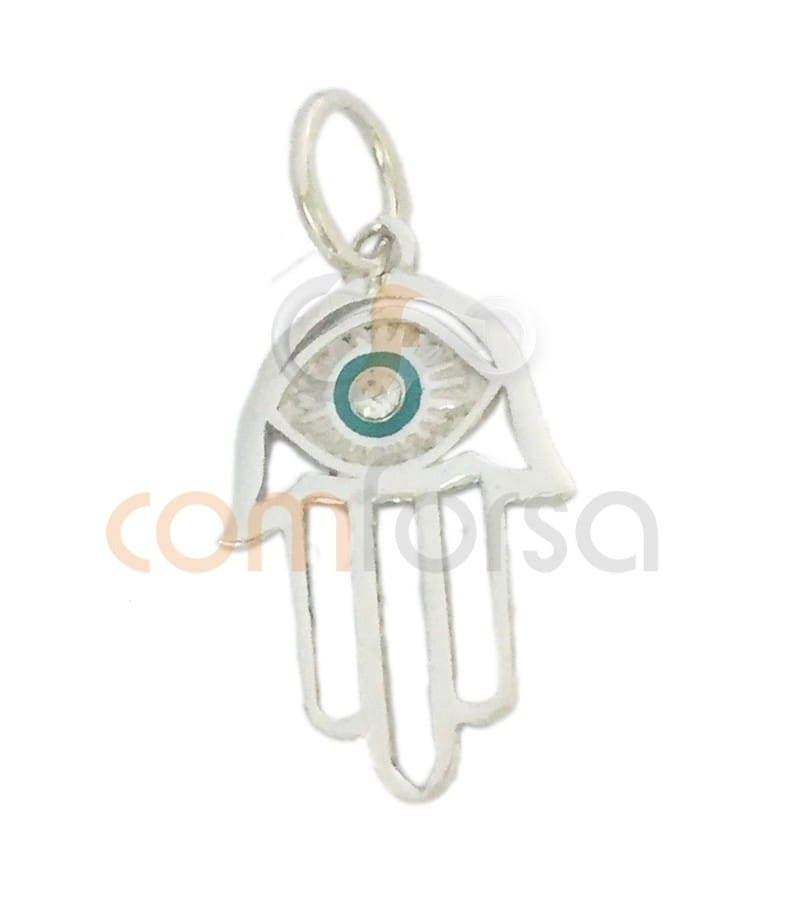 Sterling silver 925 ml Hamsa with stone 18x11mm