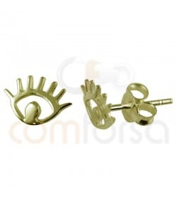 Gold plated Sterling silver 925ml eyes earrings  10 x 7.5 mm