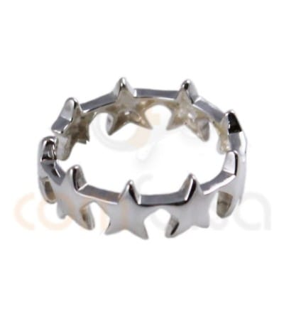 Sterling silver 925ml adjustable stars ring