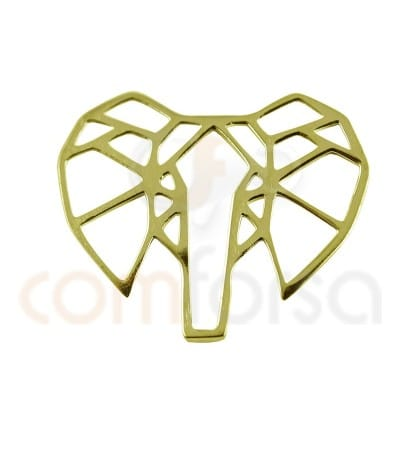 Gold plated Sterling silver  elephant pendant 17 x 14 mm
